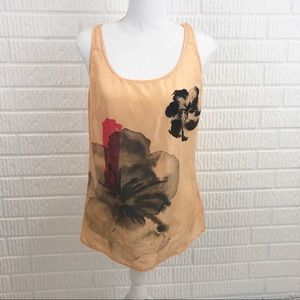 New York &Co peach silk painted tank top